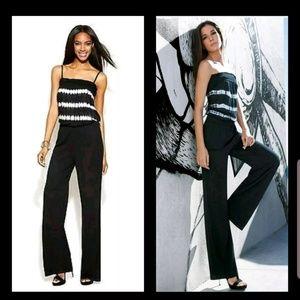 INC Black White Tie Dye Jersey Strapless Jumpsuit